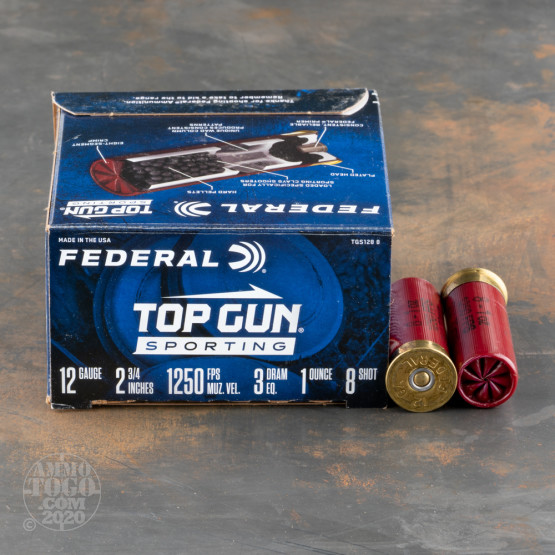 "25rds – 12 Gauge Federal Top Gun Sporting 2-3/4"" 1oz. #8 Shot Ammo"