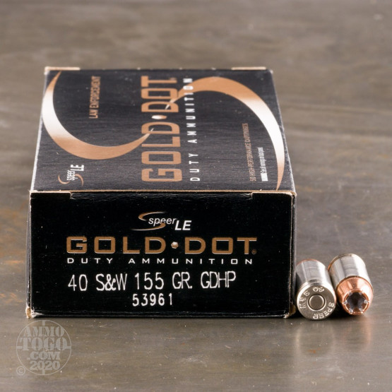 50rds – 40 S&W Speer LE Gold Dot 155gr. JHP Ammo