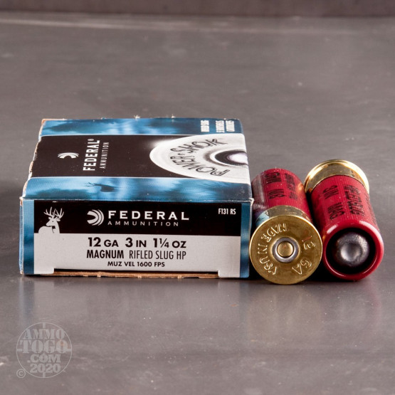 "5rds - 12 Gauge Federal Power-Shok 3"" 1 1/4 oz. Rifled Slug Hollow Point Ammo"