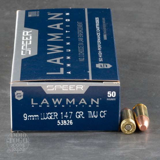 50rds - 9mm Speer Lawman 147gr. Cleanfire TMJ Round Nose Ammo