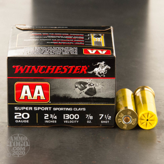 """25rds - 20 Gauge Winchester AA Sporting Clays 2-3/4"""" 7/8 oz. #7-1/2 Shot Ammo"""