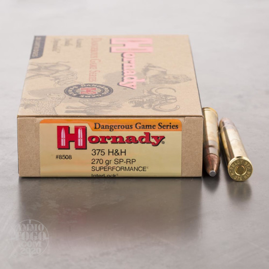 20rds - 375 H&H Mag Hornady 270gr. InterLock SP Recoil Proof Heavy Mag. Ammo