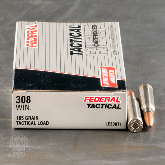 200rds - .308 Federal LE Tactical Bonded 165gr. SP Ammo