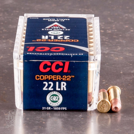 50rds – 22 LR CCI Copper-22 21gr. Lead-Free HP Ammo