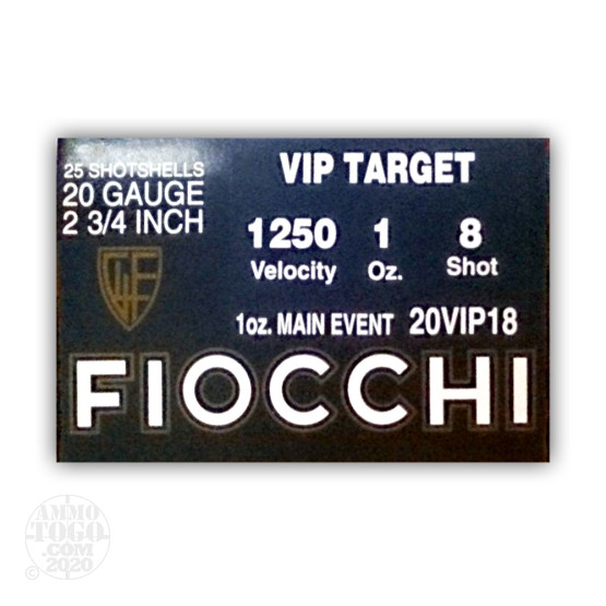 """25rds - 20 Gauge Fiocchi VIP Target 2-3/4"""" 1 Ounce #8 Shot Ammo"""