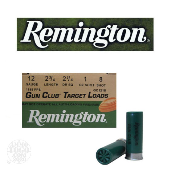 "250rds - 12 Gauge Remington Gun Club 2 3/4""  1oz. #8 Shot"
