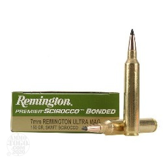 20rds - 7mm Remington Ultra Mag Premier 150gr. Swift Scirocco Bonded Ammo
