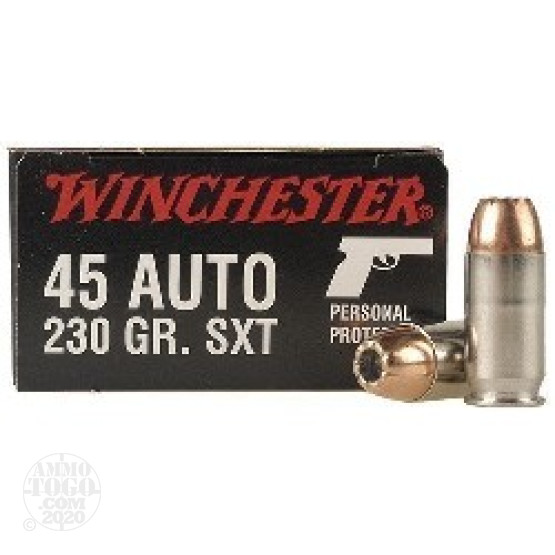 45 acp auto ammunition for sale winchester 230 grain jacketed hollow point jhp 20 rounds 20rds 45 acp winchester supreme sxt 230gr hollow point