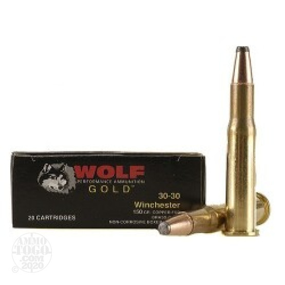 20rds - 30-30 Wolf Gold 150gr Soft Point Ammo