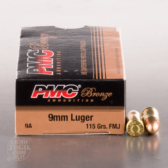 PMC 9mm ammo with 115 grain full metal jacket bullet