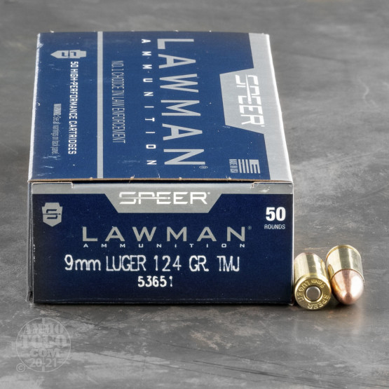 50rds - 9mm Speer Lawman 124gr. TMJ Ammo