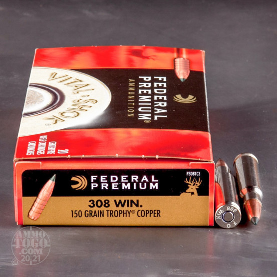 20rds - 308 Win Federal Premium 150gr. Trophy Copper Polymer Tip Ammo