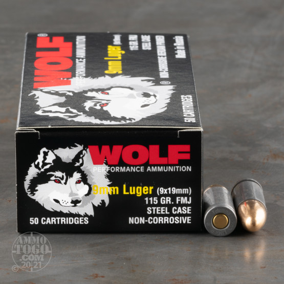 50rds – 9mm Wolf 115gr. FMJ Ammo