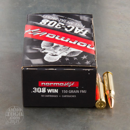 50rds - 308 Win Norma Tac-308 150gr. FMJ Ammo