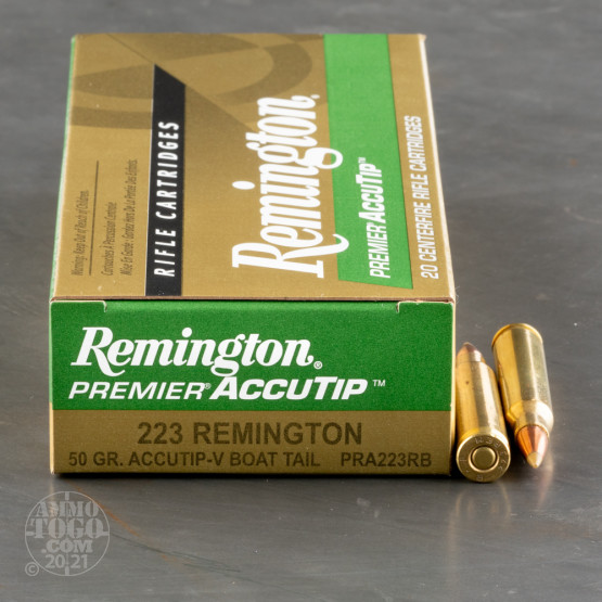 20rds – 223 Rem Remington Premier 50gr. AccuTip-V BT Ammo