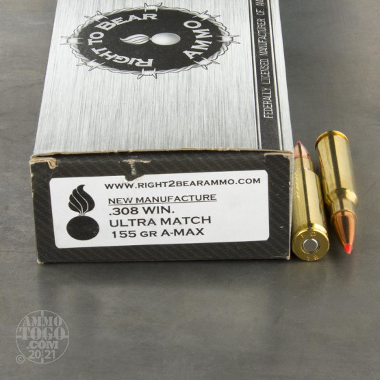 20rds - 308 Win. Right To Bear Ultra Match 155gr. A-MAX Ammo