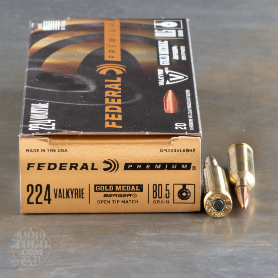 20rds – 224 Valkyrie Federal 80.5gr. Gold Medal Berger Ammo