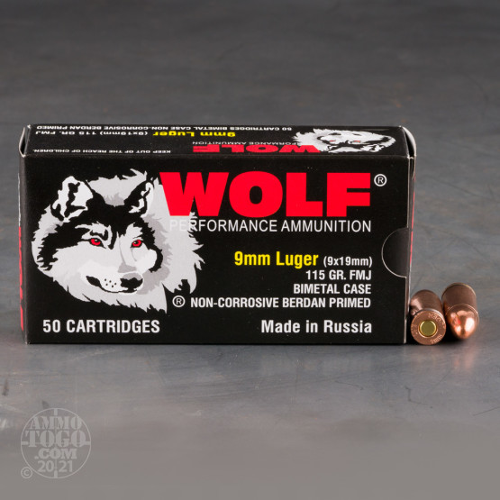 1350rds – 9mm Wolf 115gr. FMJ Ammo **STEEL CASES**