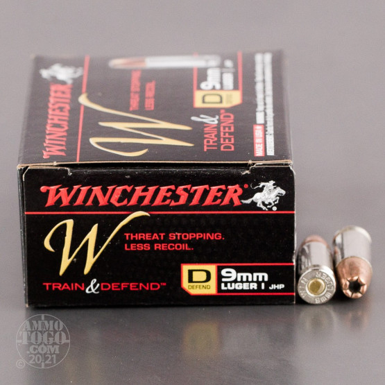 20rds - 9mm Luger Winchester W Train and Defend 147gr. JHP Ammo