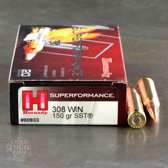 20rds – 308 Win Hornady Superformance 150gr. SST Ammo