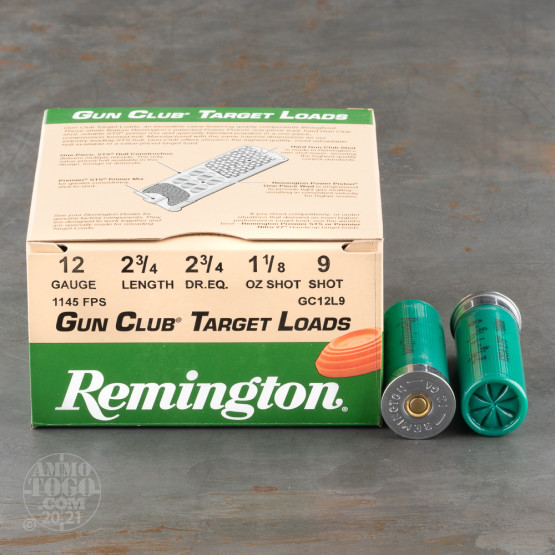 "250rds - 12 Gauge Remington Gun Club 2 3/4"" 1 1/8oz. #9 Shot Ammo"