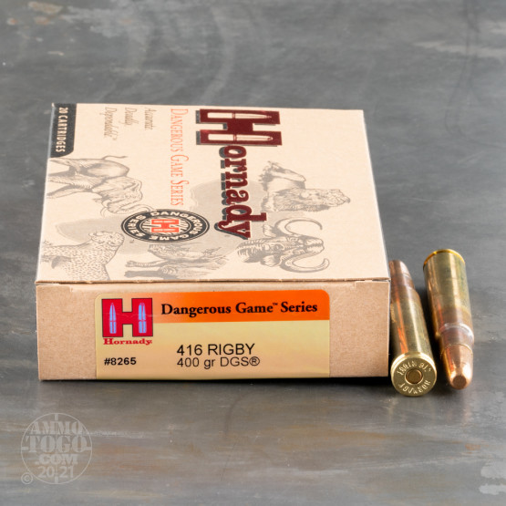 20rds - 416 Rigby Hornady 400gr. Dangerous Game Series Ammo