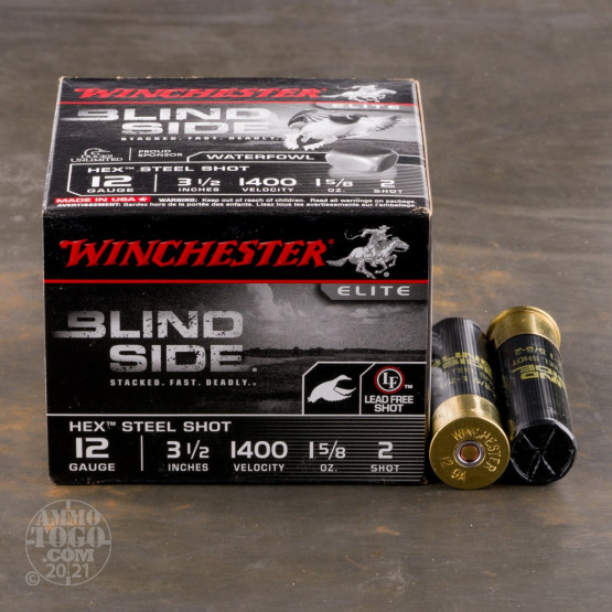 "25rds – 12 Gauge Winchester Blind Side 3-1/2"" 1-5/8oz. #2 Hex Steel Shot Ammo"