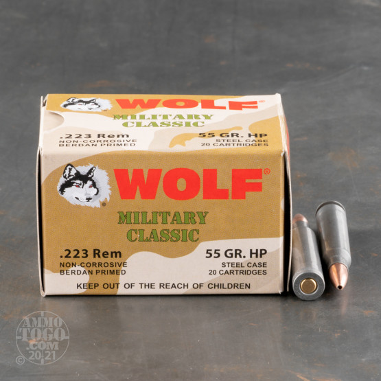 20rds – 223 Wolf WPA Military Classic 55gr. HP Ammo