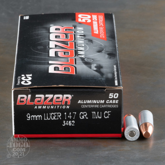 50rds – 9mm Blazer Clean-Fire 147gr. TMJ Ammo