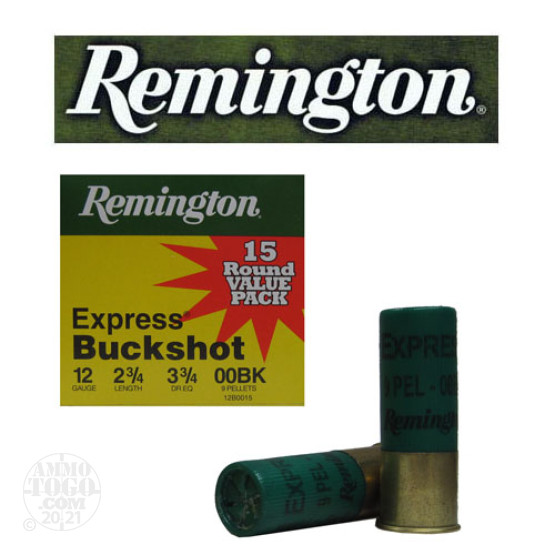 "15rds – 12 Gauge Remington Express 2-3/4"" 9 Pellet 00 Buckshot Ammo"
