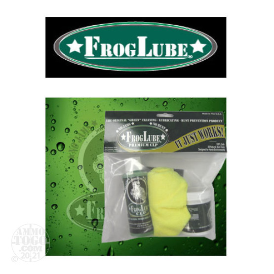 1 - FrogLube Kit Bag 4oz. Tub Paste Lube, 4 oz. Bottle CLP, and Cleaning Towel
