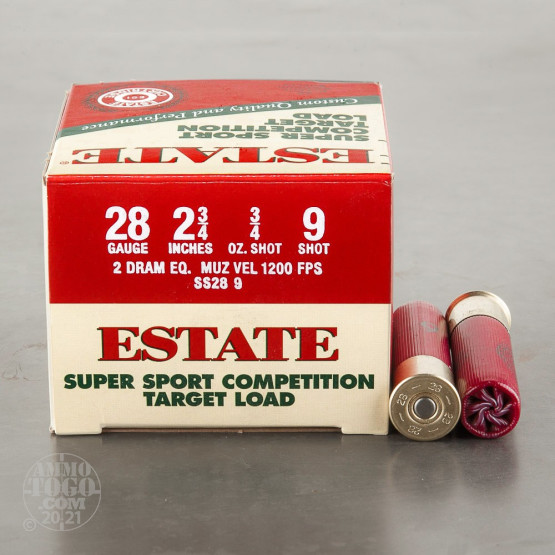 "25rds - 28 Gauge Estate Super Sport Competition 2 3/4"" 2 Dram 3/4 oz. #9 Shot Ammo"