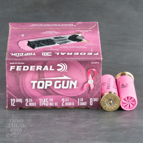 "25rds - 12 Gauge Federal Top Gun Target Load 2 3/4"" 1 1/8oz. #8 Shot Pink Hull Ammo"