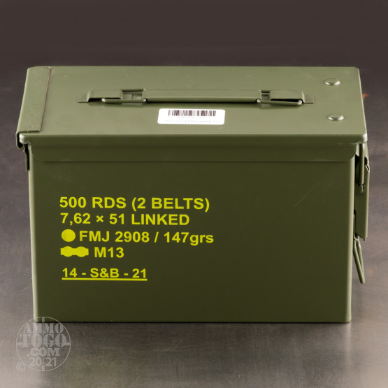 500rds – 7.62x51 Sellier & Bellot 147gr. FMJ M80 Linked Ammo