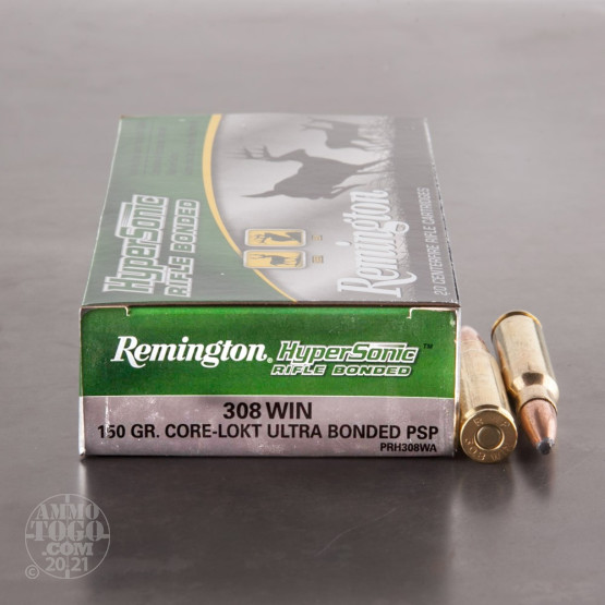 20rds - 308 Win Remington Hypersonic 150gr. Core-Lokt Ultra Bonded PSP Ammo