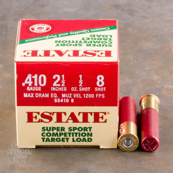 "250rds - 410 Gauge Estate Super Sport Competition 2 1/2"" Max Dram 1/2oz. #8 Shot Ammo"