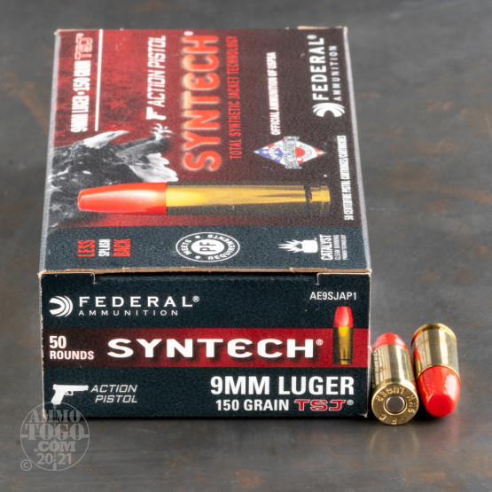 50rds – 9mm Federal Syntech 150gr. Total Synthetic Jacket Ammo