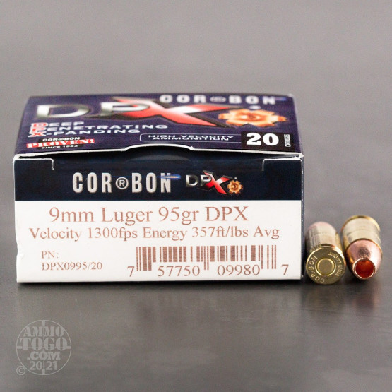 20rds - 9mm Corbon DPX 95gr. Hollow Point Ammo