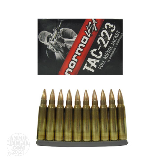 50rds - .223 Norma TAC-223 55gr. FMJ-BT On Clips Ammo
