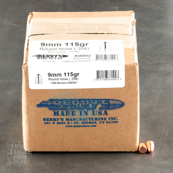 9mm 115 gr Round Nose Double Struck Berry's Bullets For Sale!