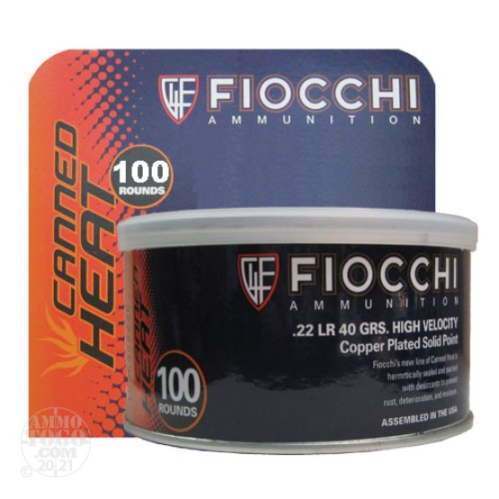 500rds - 22LR Fiocchi Canned Heat 40gr Copper Plated Solid Point Ammo