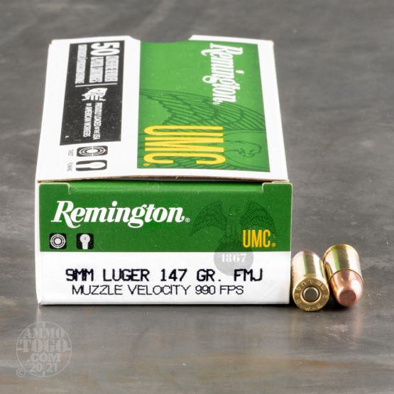 500rds - 9mm Remington UMC 147gr Full Metal Jacket Ammo
