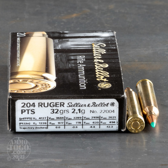 20rds – 204 Ruger Sellier & Bellot PTS 32gr. Ballistic Tip Ammo