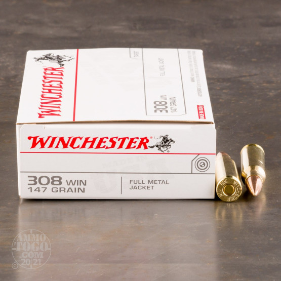 20rds - 308 Winchester USA 147gr. FMJ Ammo