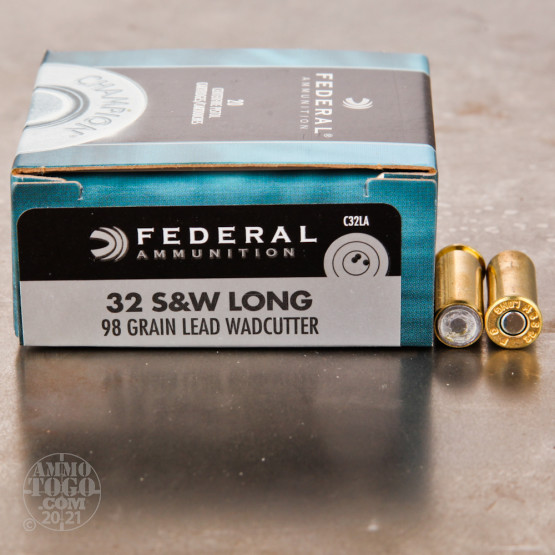 20rds - 32 S&W Long Federal 98gr. Lead Wadcutter Ammo