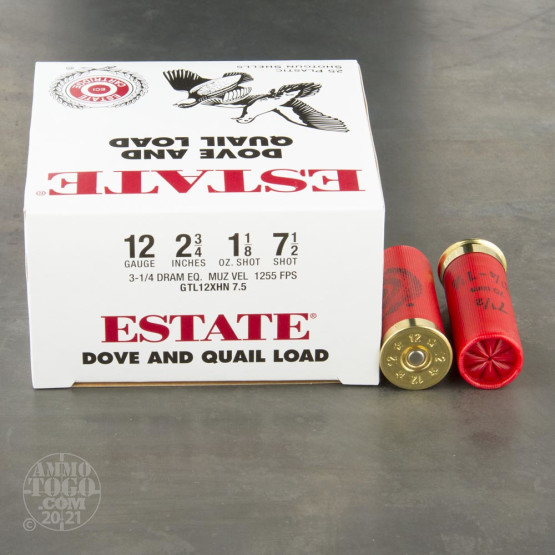 "25rds - 12 Gauge Estate Dove and Quail Loads 2 3/4"" 1 1/8 oz. #7.5 Shot Ammo"
