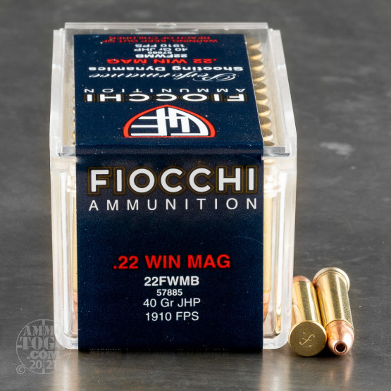 50rds - 22 Mag Fiocchi 40gr. Jacketed Hollow Point Ammo