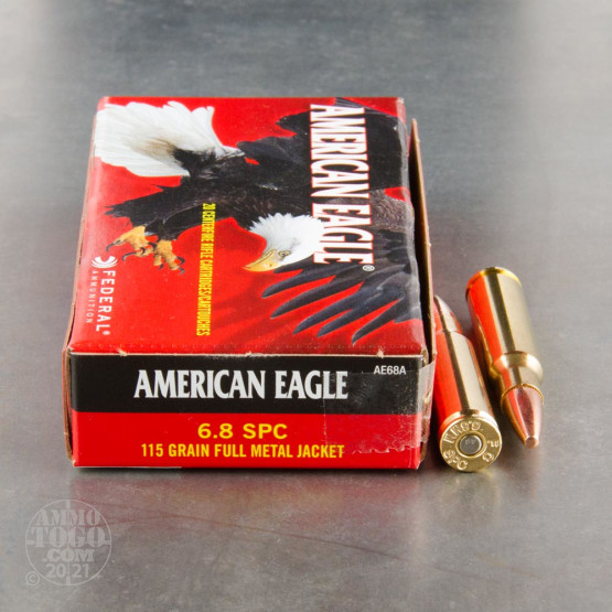 20rds – 6.8mm SPC Federal American Eagle 115gr. FMJ Ammo