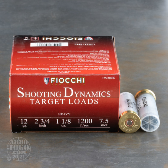 "250rds - 12 Gauge Fiocchi Target Shooting Dynamics 2 3/4"" 1 1/8oz. #7 1/2 Shot Ammo"