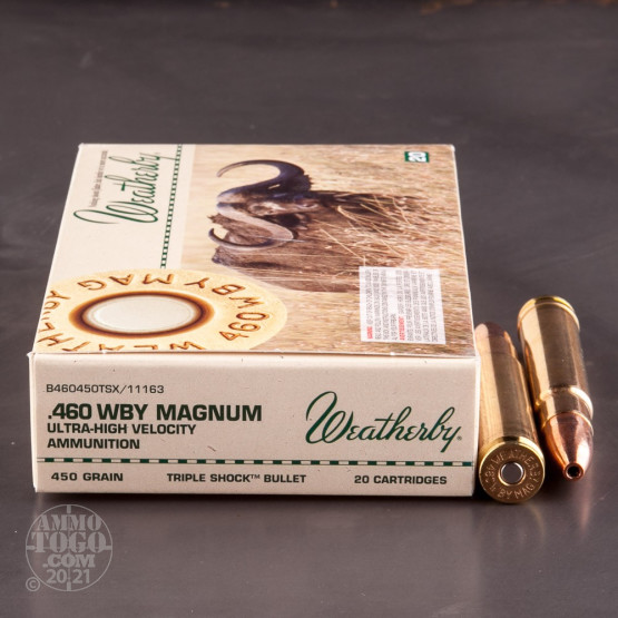 20rds - 460 Weatherby Magnum 450gr. Barnes TSX Ammo